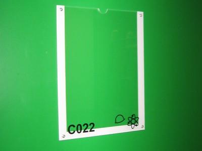 Plexi transparent + adhésif + encoche pour insertion papier - fixation adhésif double face